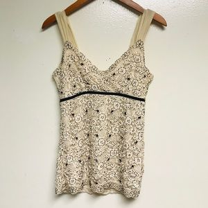 Ann Taylor Ivory Tank Top w/ Black Beads